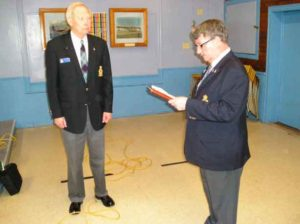 Bud Berntson being sworn in by Greg Spradbrow National Rep for The RCAFA , as the RCAFA Atlantic Group, Regional Vice President for Nova Scotia , at the Group AGM in Amherst , Sunday May 15, 2016